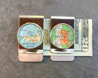 Map Money Clip Custom City Location Stainless Steel gift for Boss, Dad Groomsmen or Co-Worker Vintage Atlas