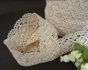 "3yd /2.7 meters Vintage Flower Beige Cotton Crochet Lace Trim 1-1/2"" /  3.8cm width L534"