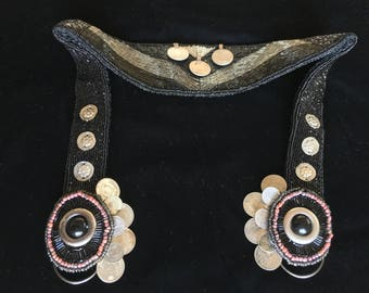 Beaded tribal fusion belt with Kuchi coins