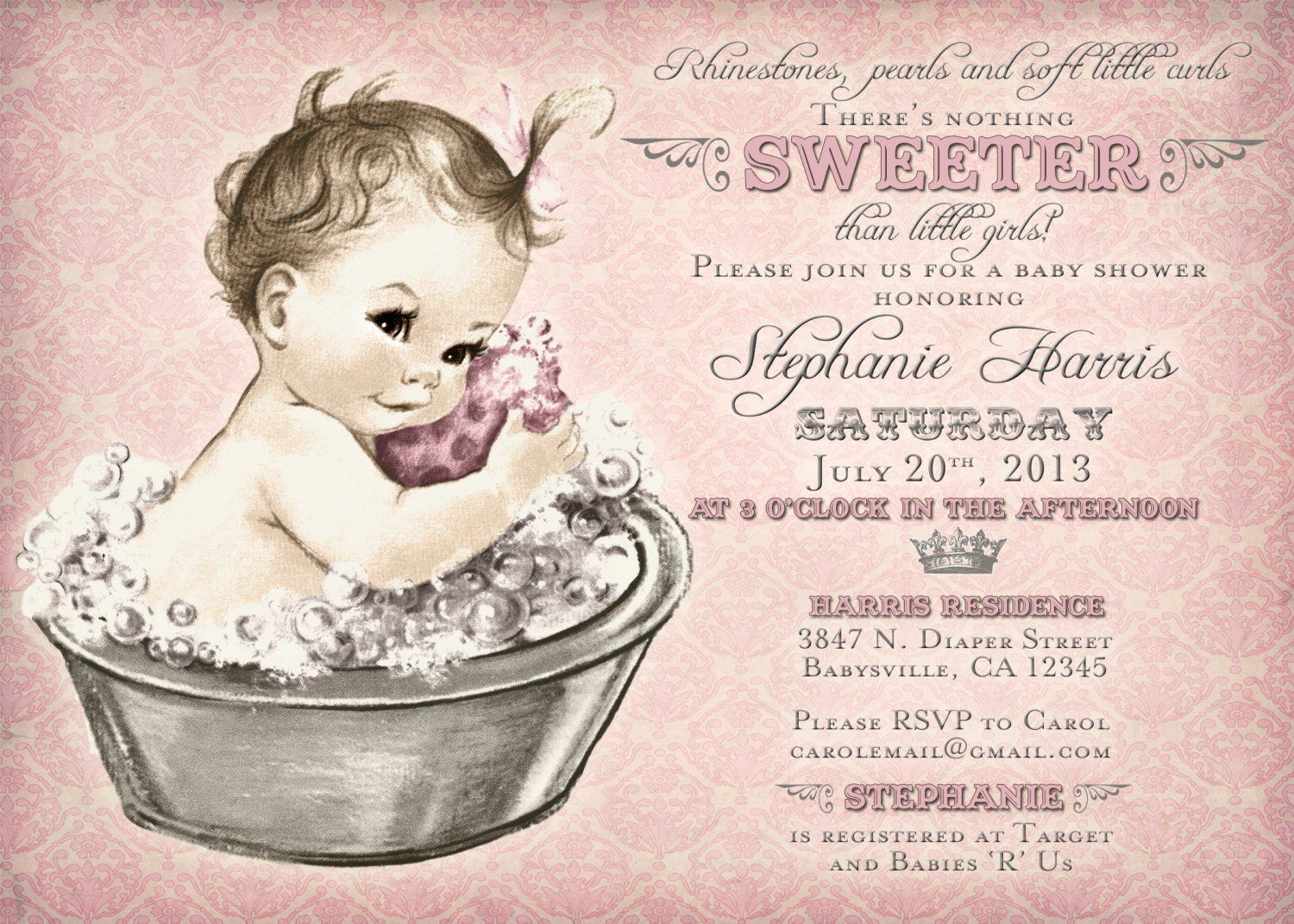 Vintage Baby Shower Invitation For Girl Baby Bath Pink