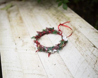 Christmas wreath Children hair wreath Children wreath in red-green combination Hair wreath for flowergirl Flower hair wreath
