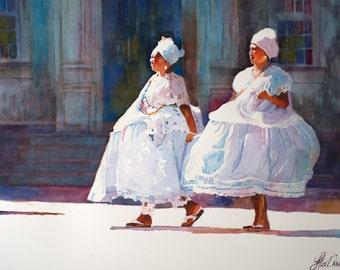 Black Art, Women in White, Watercolor Painting, Black Historical Art, Watercolor Print, Bahian Women, Brazil, African Art, Home Art