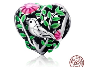 100% 925 Sterling Silver Bird in the Woods Charm Beads fit Women Bracelet Necklaces Jewelry