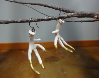 Handmade Large White Antler Earrings Gold Tipped Statement Jewelry OOAK