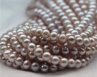 5-6mm near round pearl strands, small size pearl strands, seed pearl strands, pearl strand necklace, bridal pearl necklace,wedding pearl