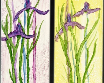 Shadow Iris Alcohol Ink on Tiles, Set of Two 3 x 6 Wall Hanging