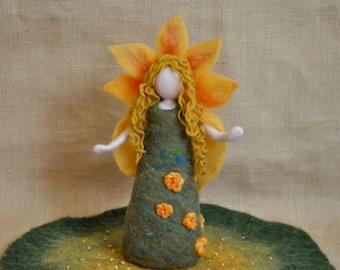 Seasonal Table Doll  Waldorf inspired needle felted : Summer