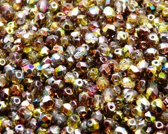 100pcs Czech Fire-Polished Faceted Glass Beads Round 4mm Magic Yellow-Brown (4FP016)