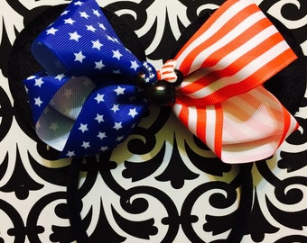 Fourth of July American Flag USA Patriotic Minnie Mouse inspired Headband Ears