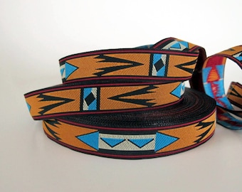 3 yards APACHE medium Jacquard trim in turquoise white rusty brown and black. 6/8 inch wide. 2013-A Native american style trim