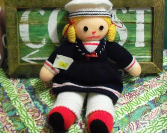 Hand Knitted Doll in Sailor Hat and Dress