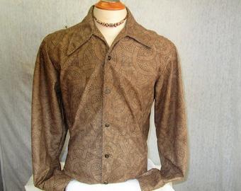 90s L Panorama Ultrasuede Studded Big Collar Men's L/S Disco Shirt Brown