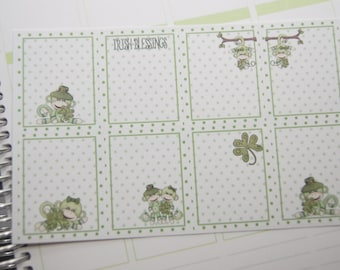 8 Planner Stickers Full Shaded Box Vertical Horizontal Monkey St. Patrick's Day Planner Stickers PS373 fits Erin Condren Planners