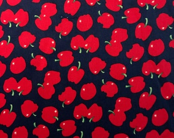 "Red Apples on Navy Blue Background, 61"" Wide, Pipsqueeks for V.I.P. Cranston, 100% Cotton"