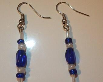 Blue & white glass bead earrings