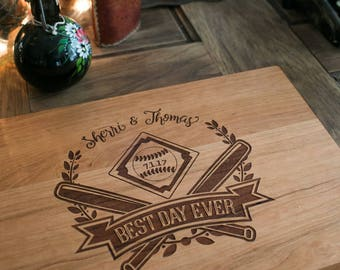 "Wedding theme Baseball cutting board design, ""Best Day Ever""  engagement, shower, engraved wood cutting board, wedding gift engagement"