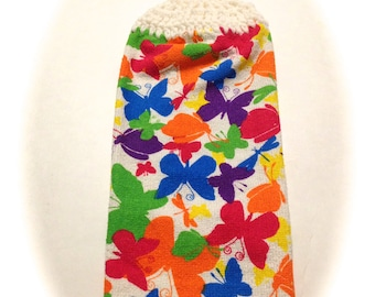 Butterflies Hand Towel With White Crocheted Top