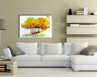 Abstract boats artwork acrylic painting Yellow acrylic artwork