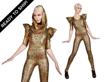 Signature Catsuit in Gold, Jumpsuit, Holographic Clothing, Dance Costume, Futuristic Clothing, Stage Wear, Burning Man Outfit, by LENA QUIST