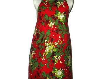Apron  Holly Berries Festive  Reversible Baking Cooking Entertaining