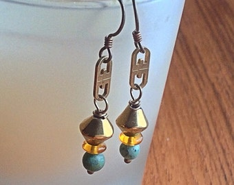 Turquoise, Amber Crystal,  Bronze Chain, Dangle Earrings, Hypo-allergenic Niobium Ear wire, goldtones