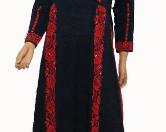 antique hand embroidered bedouin palestinian Ethnic thoub tunic dress No-7