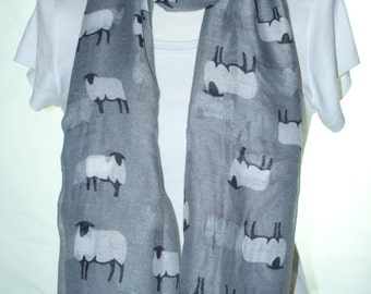 Grey sheep Scarf shawl, Beach Wrap, Cowl Scarf, grey sheep print scarf, cotton scarf, gifts for her