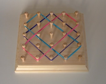 Rubber Band Geoboard ** Wooden Pin Board ** Geometric Shape Board ** Rubber Band Picture
