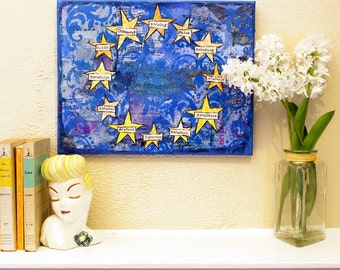 European Union Flag art | original art | canvas art | yellow blue | EU Flag | mixed media art | collage art | contemporary art | Harmony