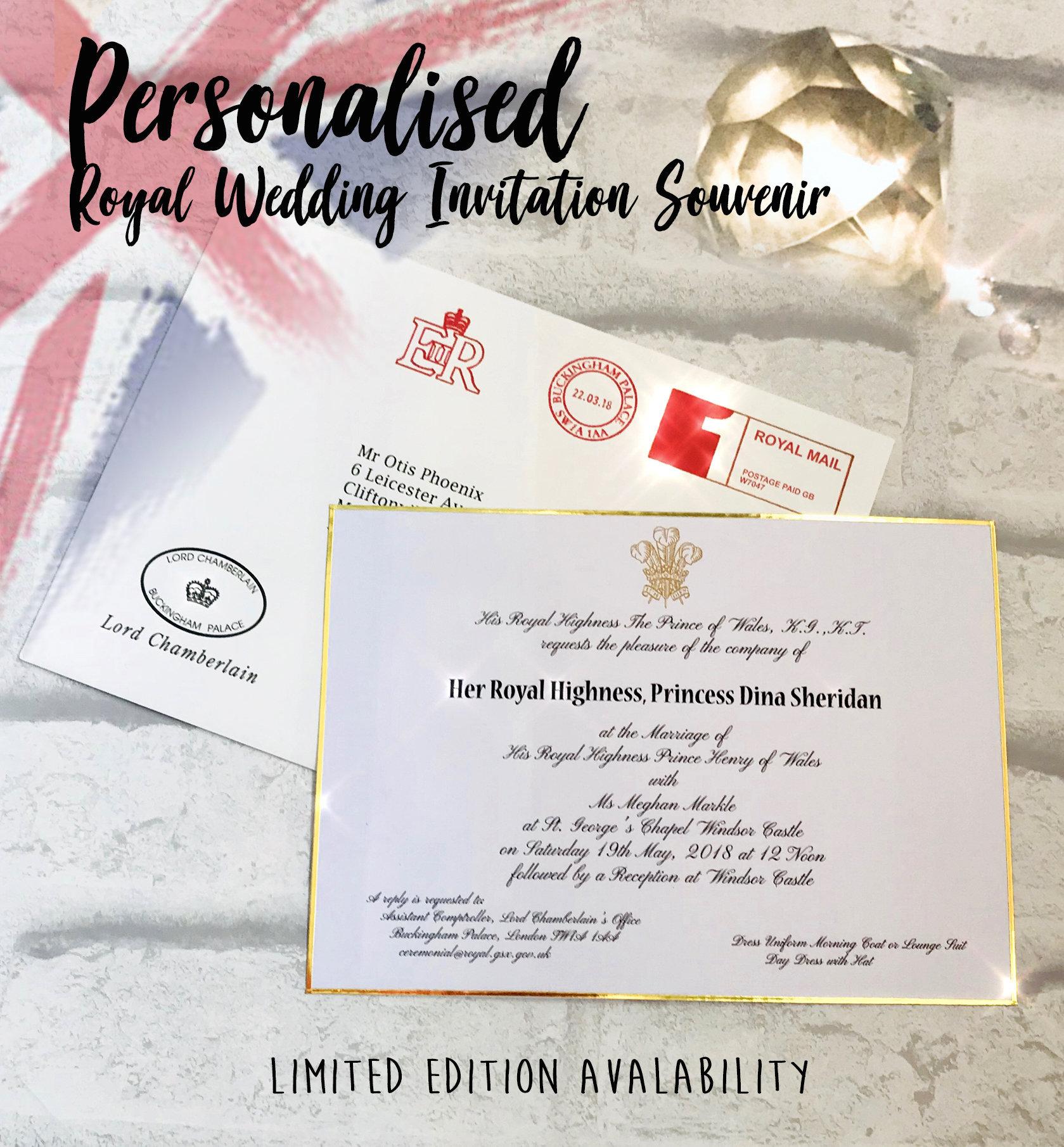 Royal Wedding souvenir Invitation Personalised Invite Replica
