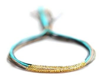 SALE Bracelet. Friendship bracelets. Silk Bracelet. Gold beaded bracelet.