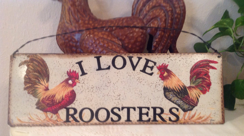 Letrero de Metal hecha a mano del gallo me encanta gallos.