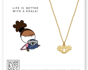 Koala 24k Gold over 925 Sterling Silver thin minimalist charm necklace with box
