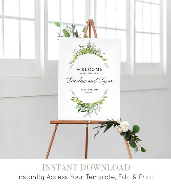 Welcome Sign Printable, Greenery Watercolor Wedding Welcome Poster, DIY, 100% Editable Template, INSTANT DOWNLOAD, 18x24 & 24x36 #016-113LS