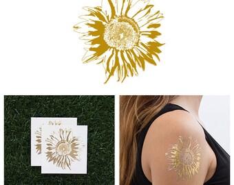Sunflower - Metallic Gold Temporary Tattoo (Set of 2)