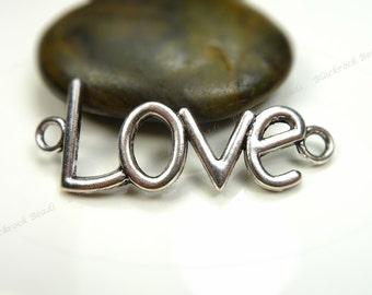 6 Curved Love Connectors 40x15mm Antique Silver Tone Metal - 2 Loop Links, Pendants - BC11