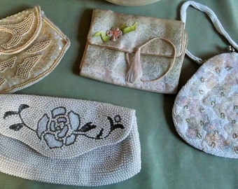 Group of VINTAGE Pastel Clutch Bags Purses Beaded HANDBAGS Deco Style