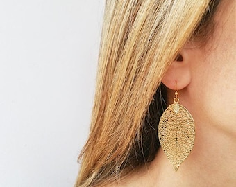 Big earrings, Gold earrings, Gold leaf earrings, Filigree leaf earrings, Everyday earrings, Fashion jewelry, Simple gold earrings