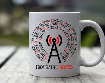 Ham Radio Operator Gifts - 11 oz - White Coffee Mug Perfect Gifts for  Amateur Ham Radio Operators - NATO Phonetic Alphabet-Ham Radio Rocks