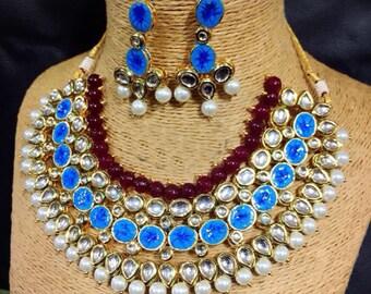 Multi Standard Kundan Necklace Set With Earrings Beautiful Party wear Necklace Bollywood Party wear Look