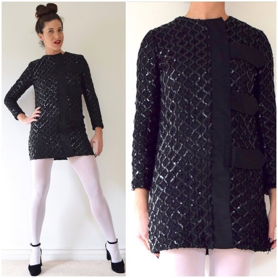 Vintage 60s Black Sequin Crocheted MOD Mini Dress (size xs, small)