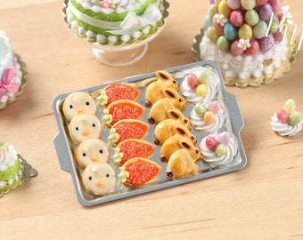 MTO-Easter Fun Iced Cookies and Meringue Nests on Metal Baking Tray - Miniature Food in 12th Scale for Dollhouse