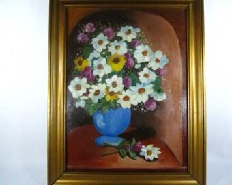 FLORAL OIL PAINTING, Framed Art, Original Oil Painting, signed art, Gold Wood Frame