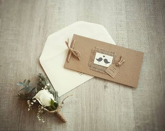 Rustic lovebirds chequebook style wedding invitation, hessian kraft and jute wedding invite