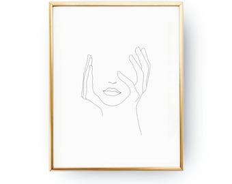 Hands On Face, Lips Print, Black And White, Sketch Art, Line Drawing Print, Minimalist Woman Print, Minimal Art, Simple Fashion, Woman Art