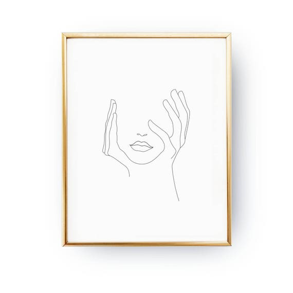 One Line Artist Statement : Hands on face lips print black and white sketch art line
