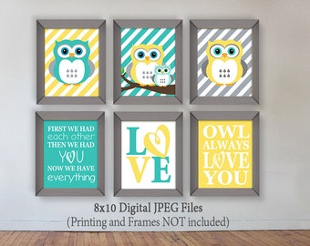 Owl, Yellow, Gray, Turquoise Owl, Digital Prints, Owl Nursery Decor, Download, Printable, Wall Art, First we had each other then we had you