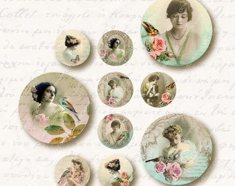Ladies 1 inch Circles, Digital Collage Sheet, Download and Print Jpeg Clip Art Images