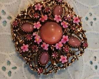 Signed ART, Arthur Pepoer, frosted saphiret glass and enameled flowers pink beooch pin