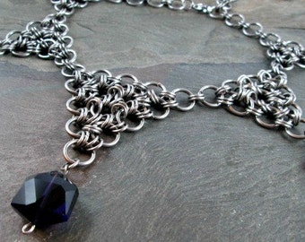 Chainmaille Necklace - Japanese Weave - Purple Glass Drops - Stainless Steel - Chainmail Jewelry - Medieval Wedding Necklace